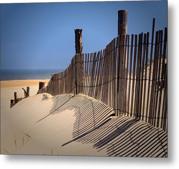 Fenwick Dune Fence And Shadows Metal Print
