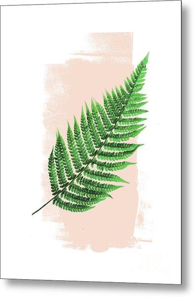Fern Leaf On Pink Metal Print