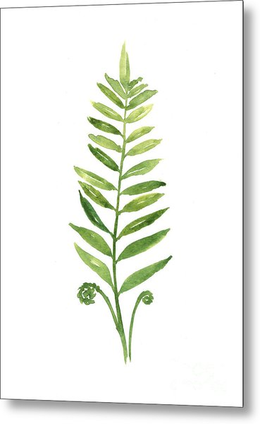 Fern Leaf Watercolor Painting Metal Print