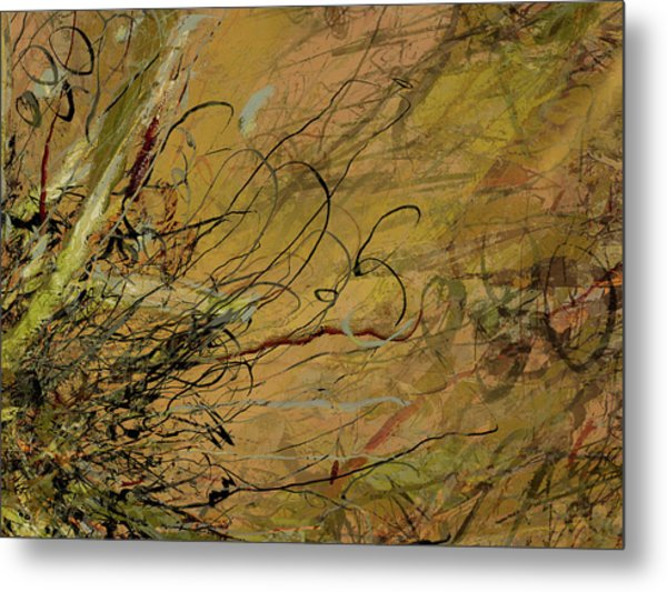 Fern Series Ping To Gray Tendril Detail Metal Print