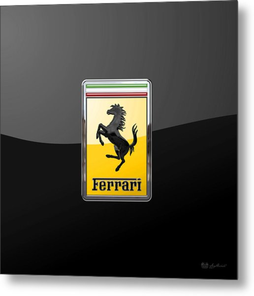 Ferrari - 3 D Badge On Black Metal Print