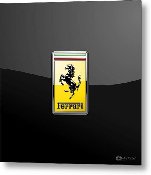 Ferrari 3d Badge- Hood Ornament On Black Metal Print