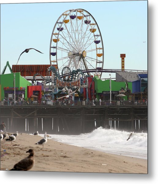 Ferris Wheel At Santa Monica Pier Metal Print