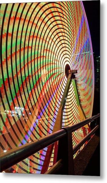Ferris Wheel  Closeup Night Long Exposure Metal Print
