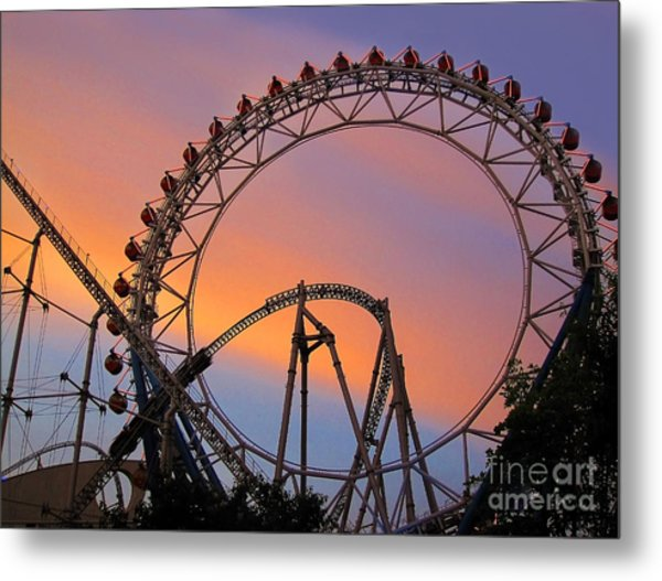 Ferris Wheel Sunset Metal Print