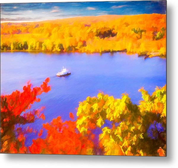 Ferry Crossing Connecticut River. Metal Print