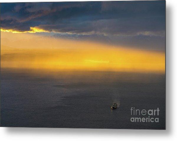 Ferry Crossing Sunset Rain Squall Metal Print