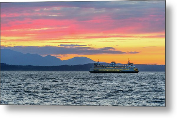 Ferry In Puget Sound Metal Print