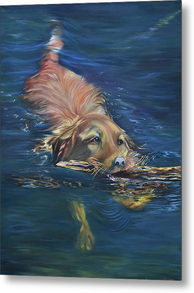 Fetching The Stick Metal Print