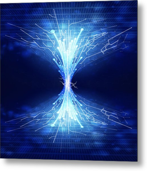 Fiber Optics And Circuit Board Metal Print