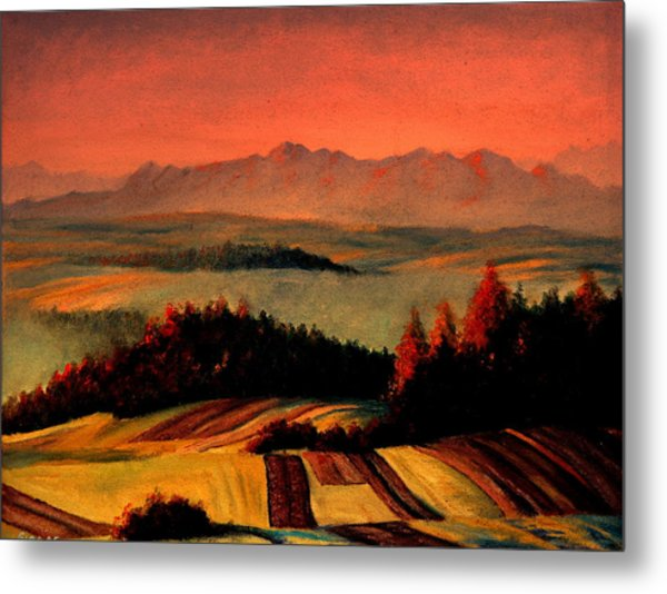 Field And Mountain Metal Print