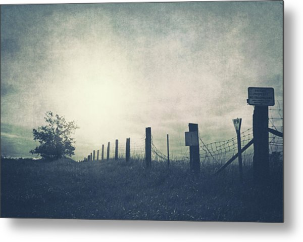 Field Beyond The Fence Metal Print