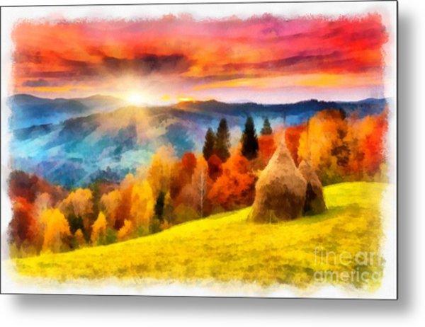 Field Of Autumn Haze Painting Metal Print