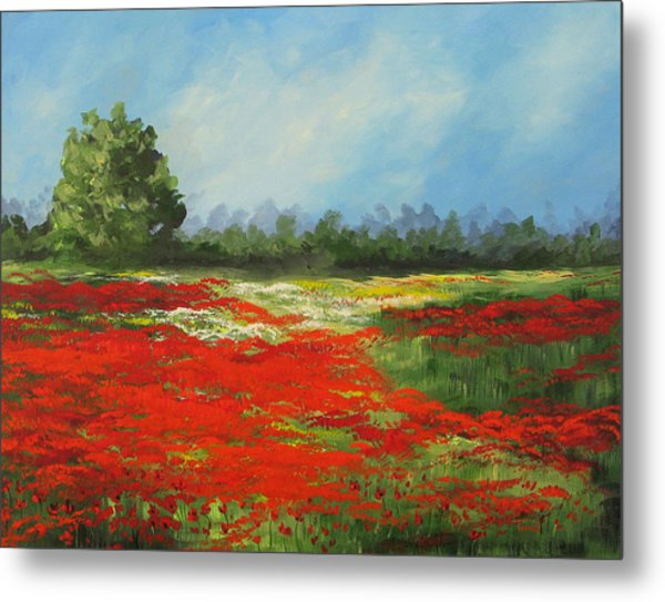 Field Of Poppies Viii Metal Print