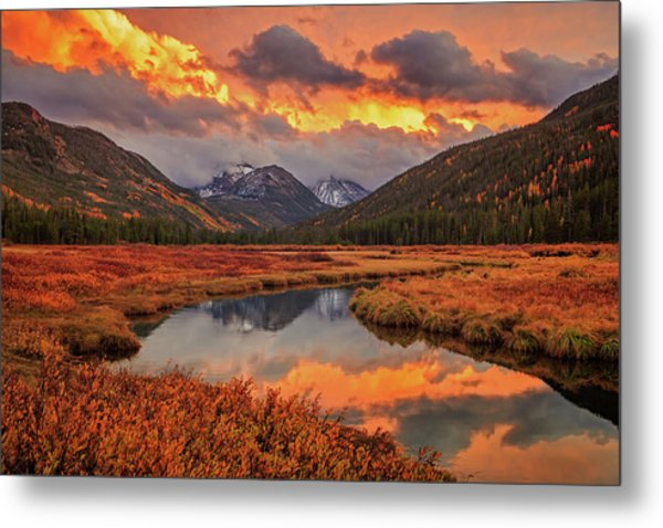 Fiery Bear River Sunset Metal Print by Johnny Adolphson