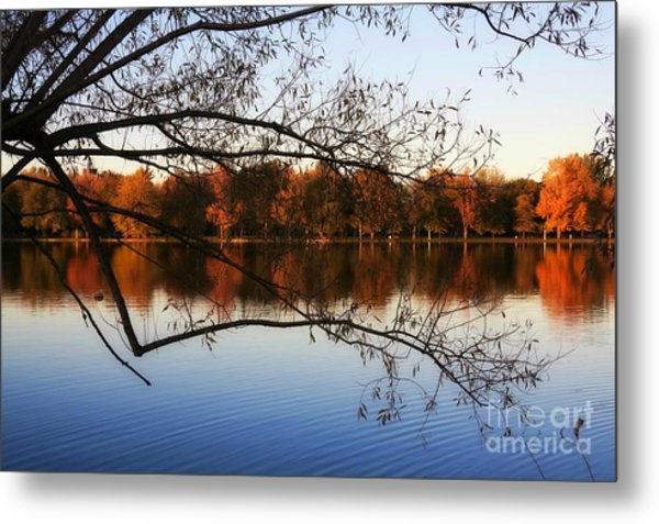 Fiery Colors On The Lake Metal Print