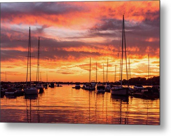 Fiery Lake Norman Sunset Metal Print