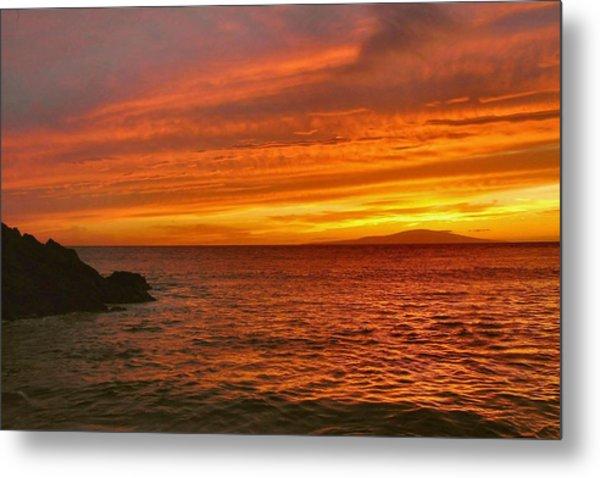 Fiery Makena Sunset Metal Print by Stephen  Vecchiotti