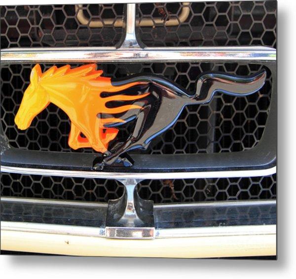 Fiery Mustang Metal Print