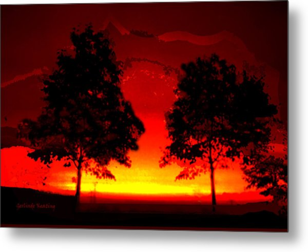 Fiery Sundown Metal Print