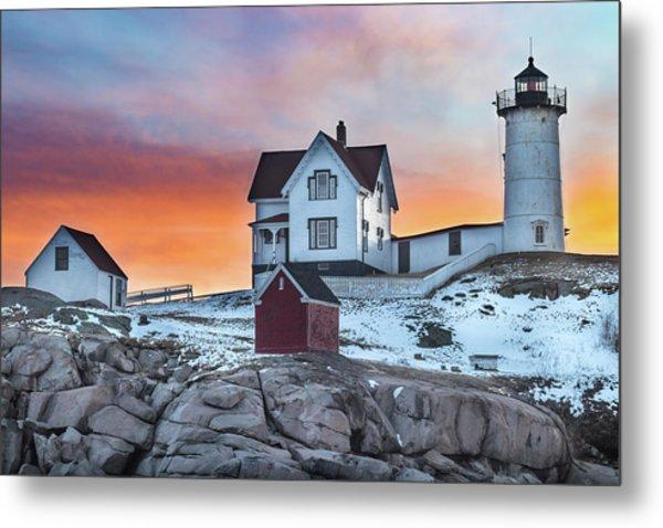 Fiery Sunrise At Cape Neddick Lighthouse Metal Print