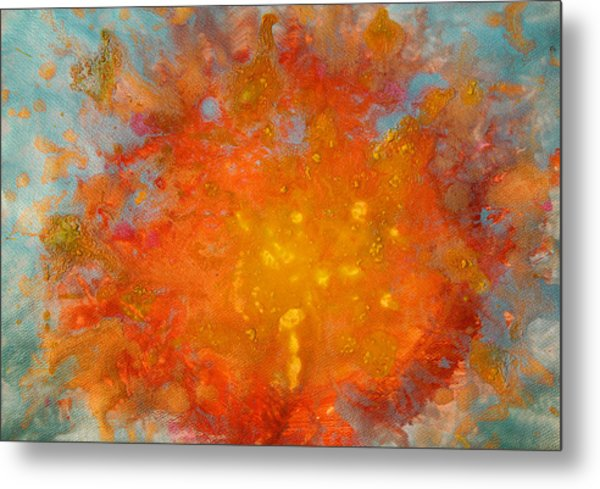 Fiery Sunset Abstract Painting Metal Print