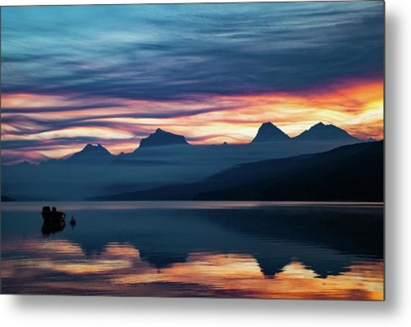 Metal Print featuring the photograph Fiery Sunrise At Mcdonald Lake, Gnp by Lon Dittrick