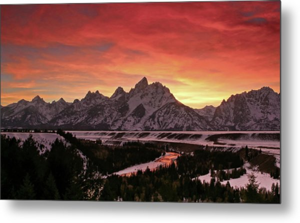 Fiery Sunset On Snake River Metal Print