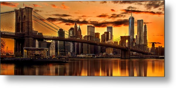 Fiery Sunset Over Manhattan  Metal Print