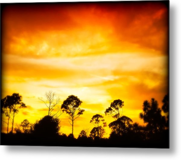Fiery Sunset Metal Print by Rich Leighton