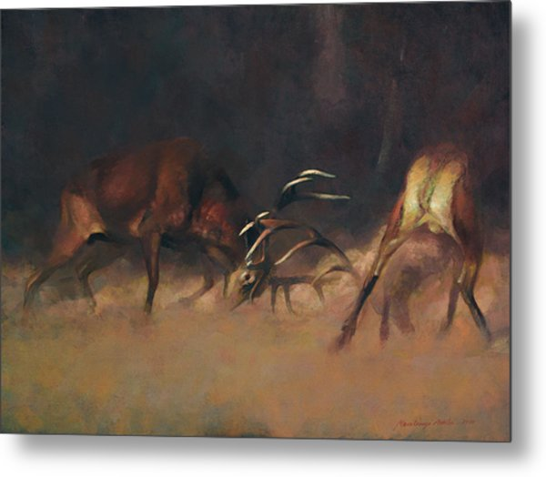 Fighting Stags I. Metal Print