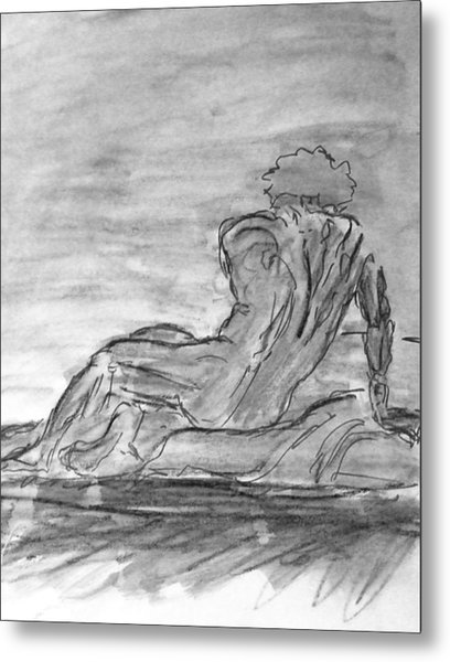 Figure Sketch In Monochrome Black White Arched And Curved Twisted Back Leaning On One Hand In Seated Metal Print