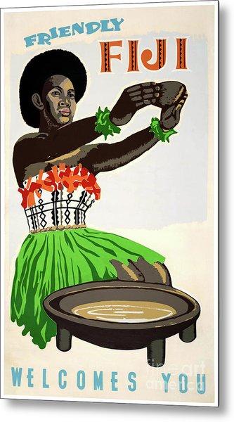 Fiji Restored Vintage Travel Poster Metal Print