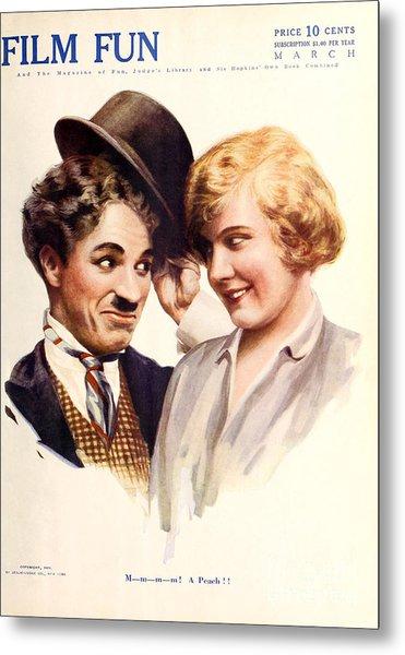 Film Fun Classic Comedy Magazine Featuring Charlie Chaplin And Girl 1916 Metal Print