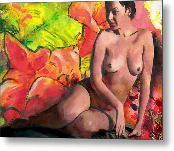 Fine Art Female Nude Anastasia And Daylilies Metal Print