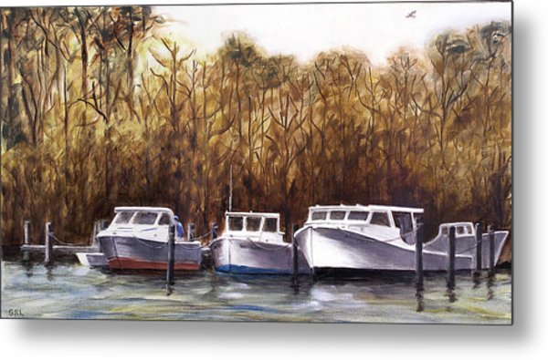 Fine Art Traditional Oil Painting 3 Workboats Chesapeake Bay Metal Print