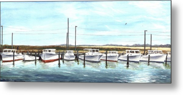 Fine Art Workboats Kent Island Chesapeak Maryland Original Oil Painting Metal Print