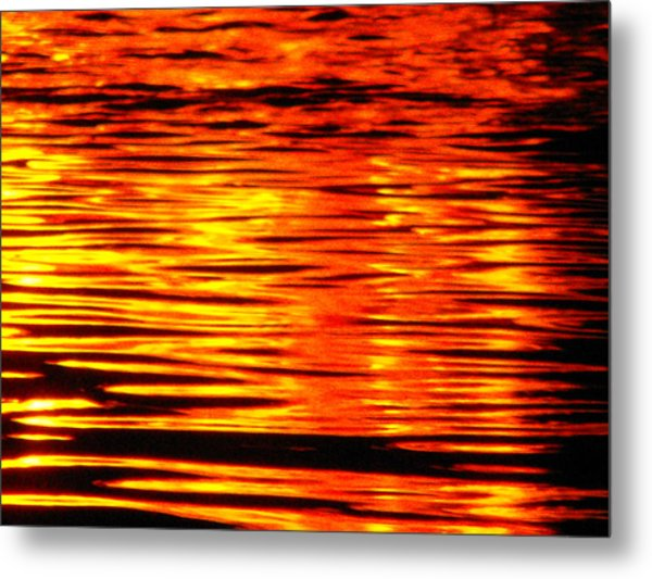 Fire At Night On The Water Metal Print