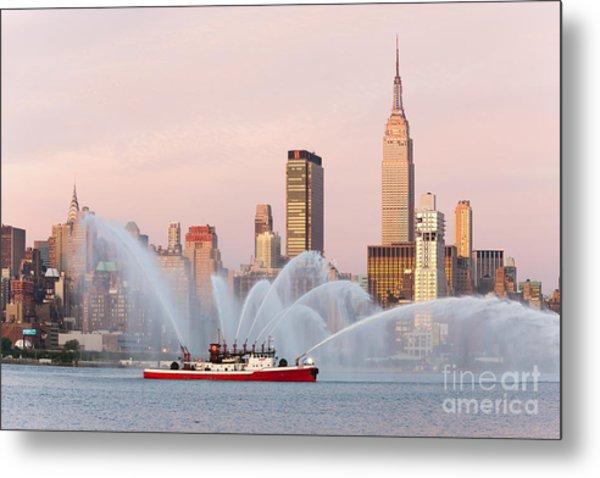 Fire Boat And Manhattan Skyline I Metal Print
