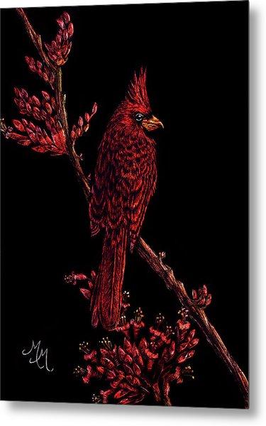 Fire Cardinal Metal Print