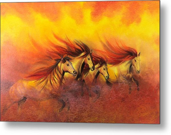 Fire Horses Metal Print by Maria Hathaway Spencer