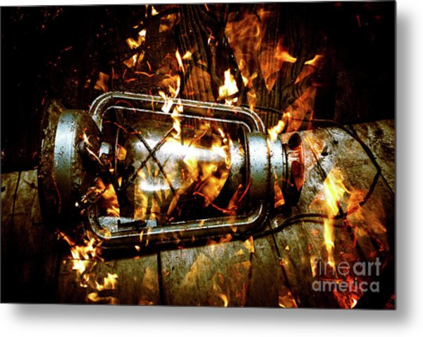 Fire In The Hen House Metal Print