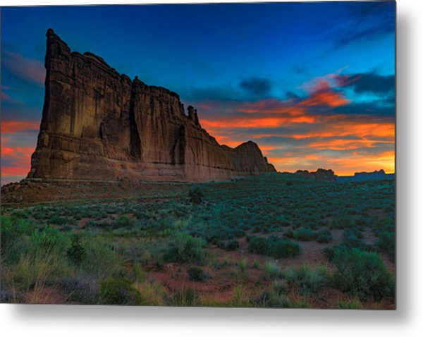 Fire In The Sky At The Tower Of Babel Metal Print