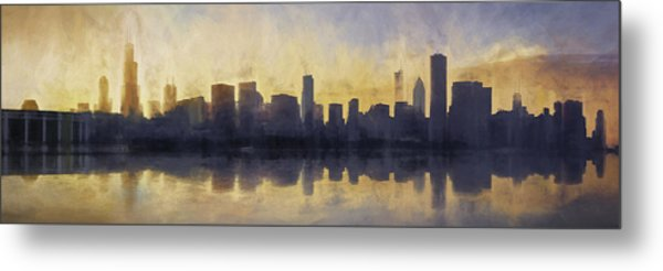 Fire In The Sky Chicago At Sunset Metal Print