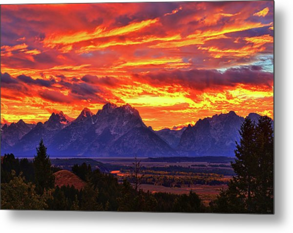 Fire In The Teton Sky Metal Print
