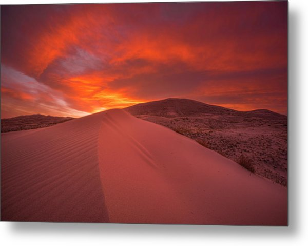 Fire Over Kelso Dunes Metal Print