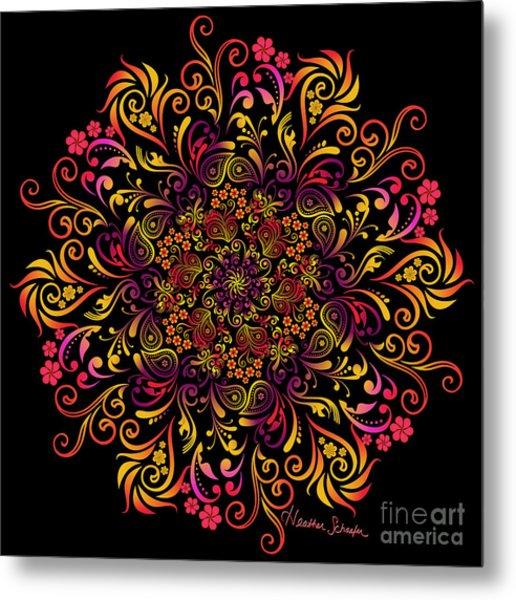 Fire Swirl Flower Metal Print