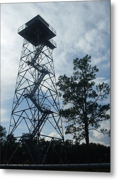 Fire Tower In The Forest Metal Print by Warren Thompson