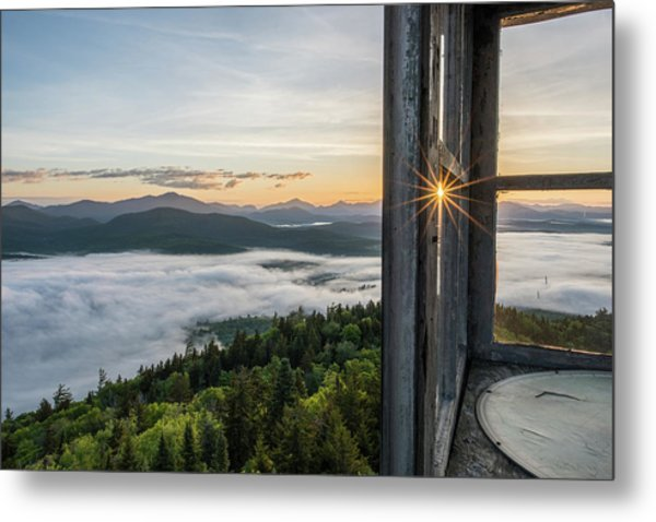 Fire Tower Sunburst Metal Print