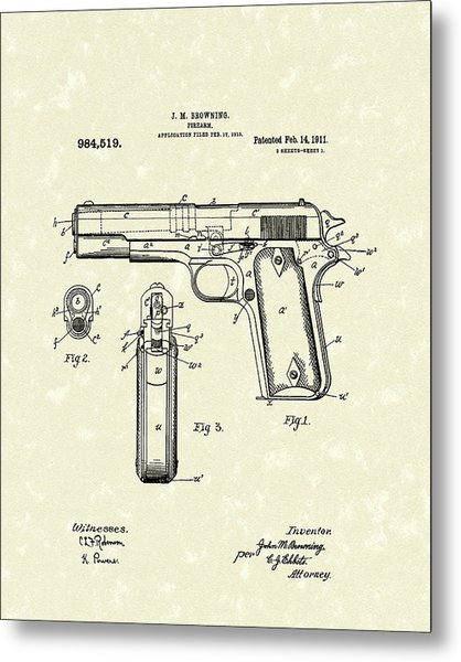 Firearm 1911 Patent Art Metal Print